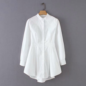 Elegant stand collar hem irregular pleats white blouse