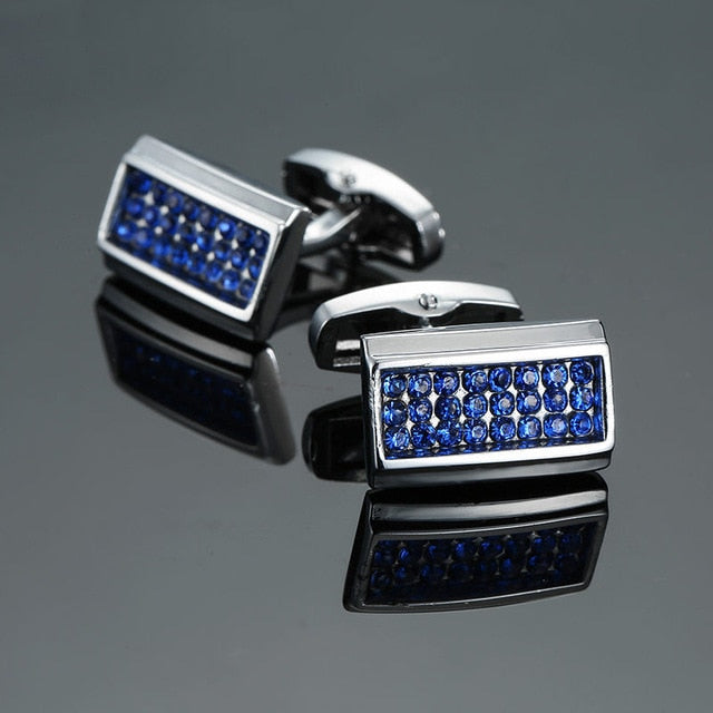 Novelty Luxury Blue white Cuff links for Mens