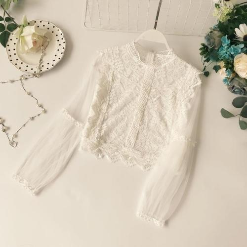 New Arrival Ladies Mesh Lace Hook Flower Lantern Sleeve Loose Retro Short Pullover Blouse Shirts Women Fashion Cute Voile Suits