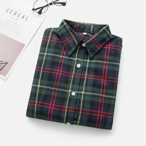 2019 Women Blouses Brand New Excellent Quality Flannel Red Plaid Shirt Women Cotton Casual Long Sleeve Shirt Tops Lady Clothes