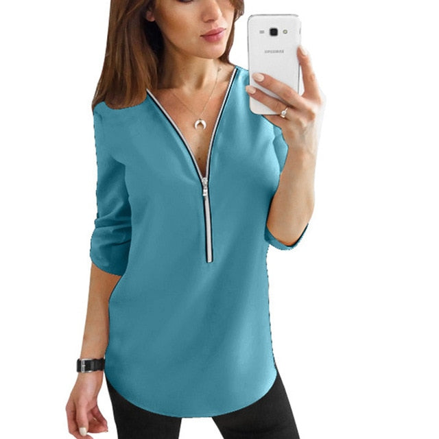 Zipper Short Sleeve Women Shirts Sexy V Neck Solid Women