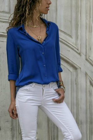 legant Long Sleeve Solid V-Neck Chiffon Blouse