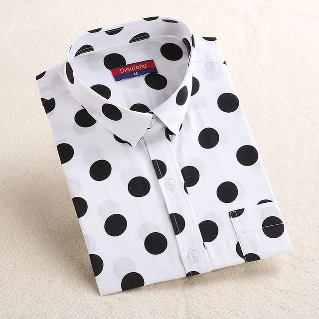 2019 Plus Size Polka Dot Cotton Women Blouses Shirt Long Sleeve Women's Shirts Turn Down Collar Cotton Casual Blouse Women Top