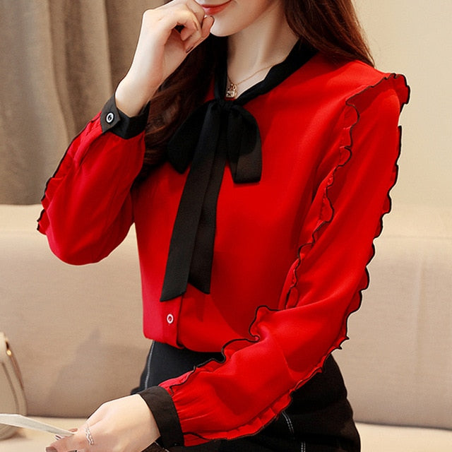 fashion womens tops and blouses 2019 red chiffon blouse shirt long sleeve women shirts bow collar office blouse women 1318 40