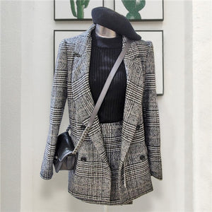CBAFU autumn spring long sleeve jacket coat women outwears plaid tweed skirts suit women 2 pieces sets women suits N630