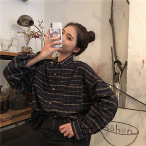 Simple Vintage Plaid Loose