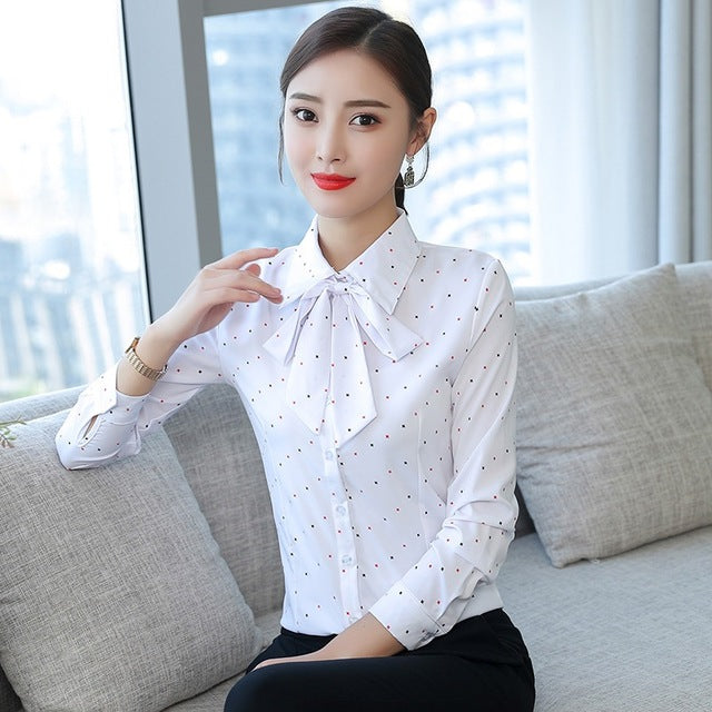 Turn Down Collar Long Sleeve Blouse