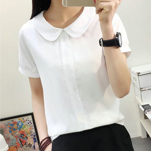 Chiffon Short Sleeve Female Tops Peter Pan Collar