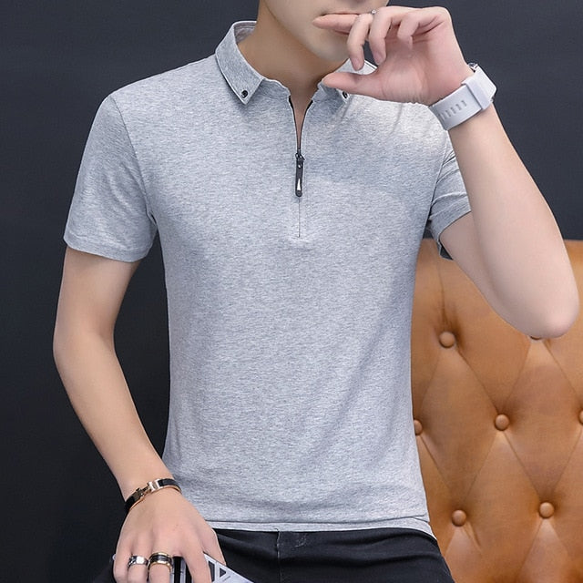 Cotton T Shirt Men Short Sleeve Turn-down Collar