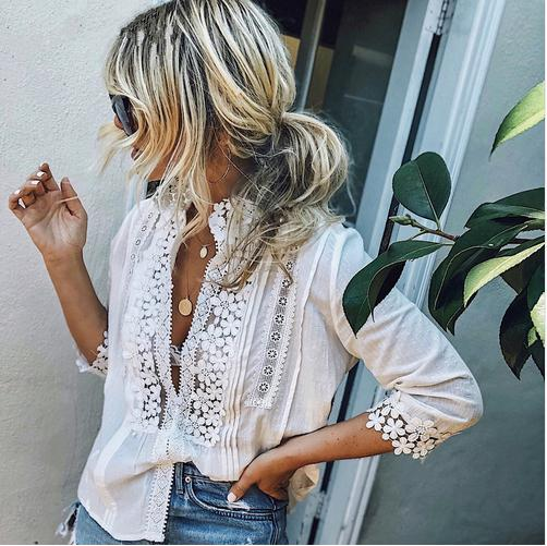 Boho Long Sleeve Floral Lace White Tops