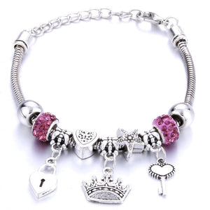 Antique Original Crown key lock Shape 6 colors Charm Bracelets For Women Glass Beads Brand Bracelet & Bangle DIY Jewelry Gifts