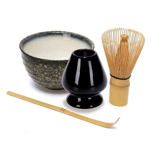 4  in 1 Matcha Ceramic Tea Bowl Bamboo