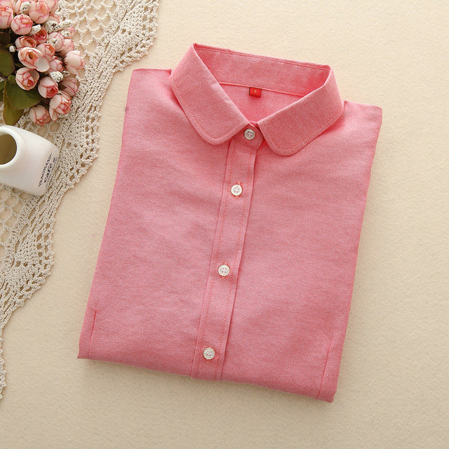 Brand Women Blouse 2019 New Casual Long Sleeved Cotton Oxford White Shirt Woman Office Plus Size Shirts Blusas Feminine Blouses
