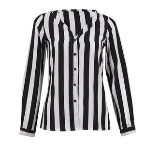 Striped Shirt Black White Elegant V Neck Button Blouse
