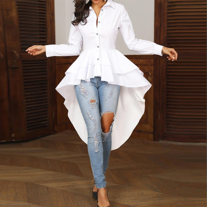 Turn-down Collar White Shirt  Dip Hem Asymmetrical Blouse