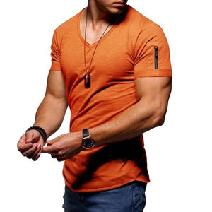 V-neck T-shirt fitness bodybuilding