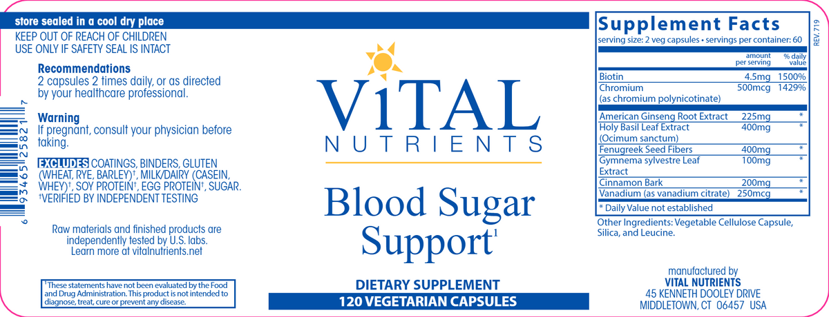 Blood Sugar Support 120 Vegetarian Capsules