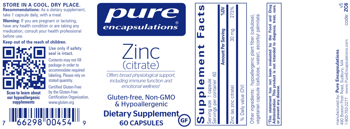 Zinc (citrate) 30 mg 60 Capsules