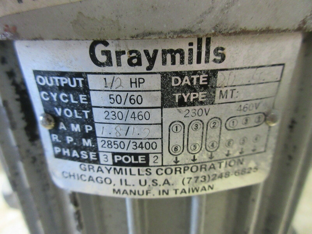 GARYMILLS COOLANT PUMP TYPE MT 1/2 HP 50/60HZ IMV50-F WARRANTY