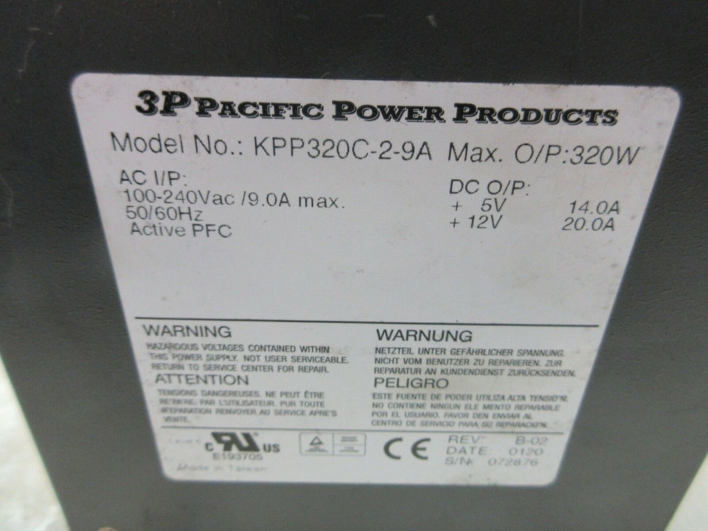 3P PACIFIC POWER PRODUCTS POWER SUPPLY UNIT KPP320C-2-9A 320W 100-240VAC 50/60HZ