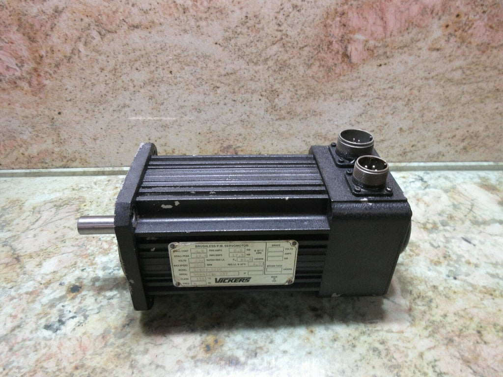 VICKERS BRUSHLESS SERVO MOTOR MODEL 1-604-0210 95H412W-737 WARRANTY