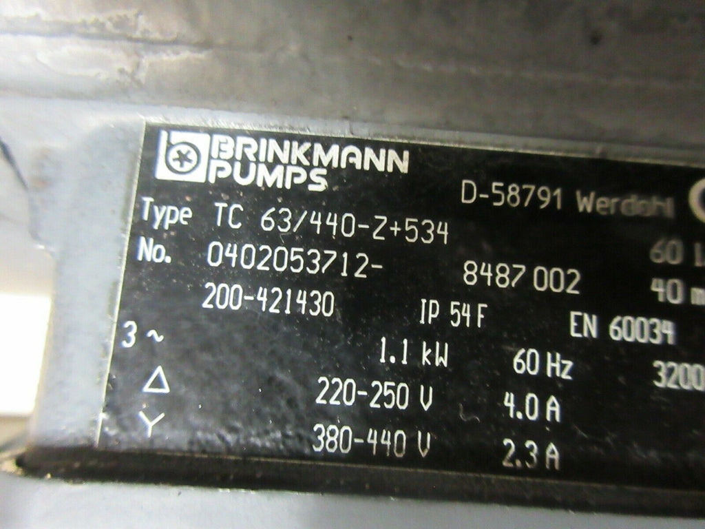 BRINKMANN PUMPS TC 63/440-Z+534 0322837 EN60034 COOLANT PUMP CHARMILLES EDM EACH