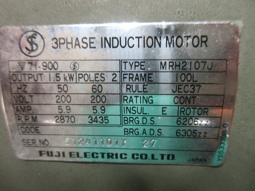 FUJI 3PHASE INDUCTION MOTOR MRH2107J 100L NIKUNI N902-2-15M2 MAKINO EDM