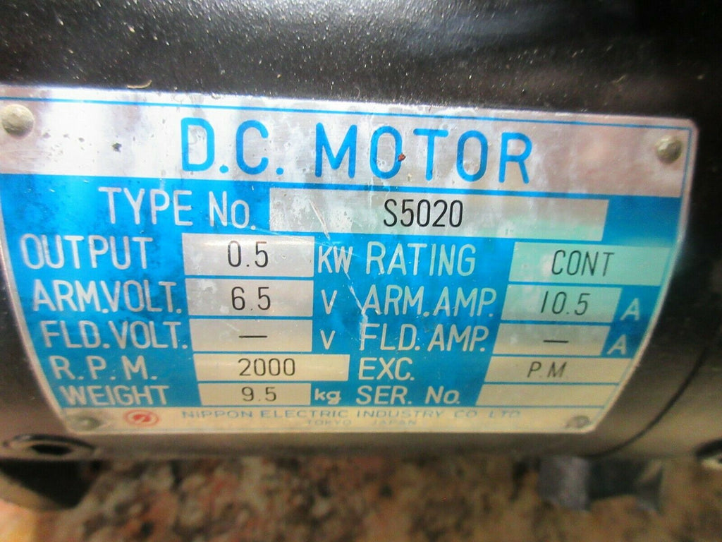 NIPPON ELECTRIC DC SERVO MOTOR S5020 LMA-250BM-S3 WARRANTY EACH 1