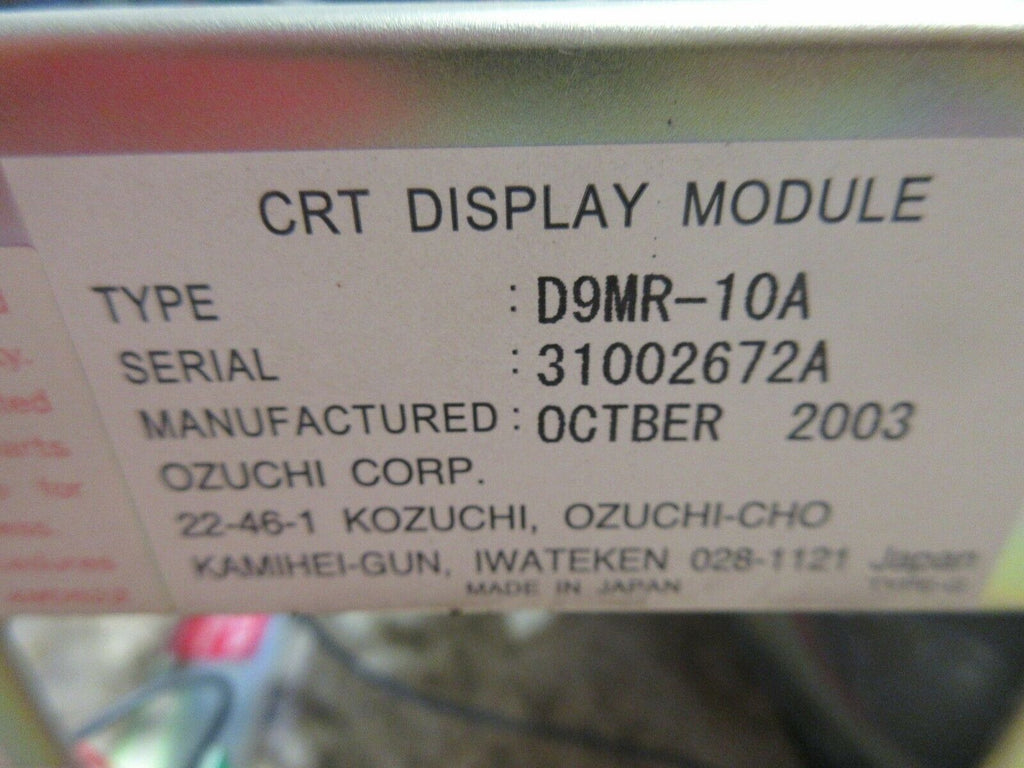 KAMIHEI-GUN CRT DISPLAY MONITOR D9MR-10A A61L-0001-0092 HITACHI SEIKI