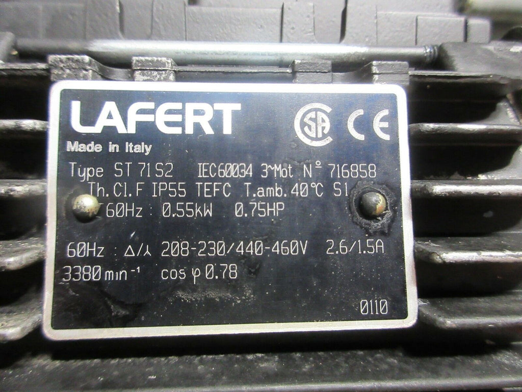 LAFERT CHIP CONVEYER MOTOR ST 71 S2 ST 71S2 IEC60034 716858 TH.C1.F IP55 TEFC
