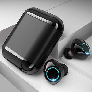 "LUXINI GOOGLE SHOP Black Studio Air S7 V2.0 | The Boss™ 5.0 Bluetooth Headphones TWS Stereo Earbuds With Mic & Charging Box <img src=""https://i.ibb.co/Hq8D8Y9/PRODUCT-REVIEWS-5-0-Bluetooth-Headphones.jpg"" auto="""" width:="""" max-width:="""" height:=""""> <p>"