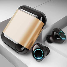 "Load image into Gallery viewer, LUXINI GOOGLE SHOP Black Gold Studio Air S7 V2.0 | The Boss™ 5.0 Bluetooth Headphones TWS Stereo Earbuds With Mic & Charging Box <img src=""https://i.ibb.co/Hq8D8Y9/PRODUCT-REVIEWS-5-0-Bluetooth-Headphones.jpg"" auto="""" width:="""" max-width:="""" height:=""""> <p>"