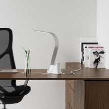Load image into Gallery viewer, The LUX Brooklyn AC LED Task Lamp has built-in universal AC outlets for charging computers and any device requiring a source of electricity.