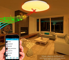 Load image into Gallery viewer, Bluetooth Smart LED Ceiling Light Fixture Speaker RGBW APP/Voice Control Dimmable Works with Google Alexa 48W