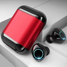 "Load image into Gallery viewer, LUXINI GOOGLE SHOP Black Red Studio Air S7 V2.0 | The Boss™ 5.0 Bluetooth Headphones TWS Stereo Earbuds With Mic & Charging Box <img src=""https://i.ibb.co/Hq8D8Y9/PRODUCT-REVIEWS-5-0-Bluetooth-Headphones.jpg"" auto="""" width:="""" max-width:="""" height:=""""> <p>"