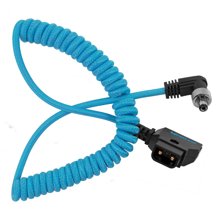 Coiled D-Tap to Locking DC 2.5mm Right Angle Cable