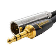Mini XLR to Gold 3.5MM Stereo Plug for Line Level Devices