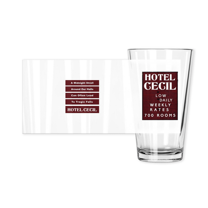 Hotel Cecil Rates Sign Haunted Pint Glass | Made in the USA | Collectible - Phoenix Artisan Accoutrements