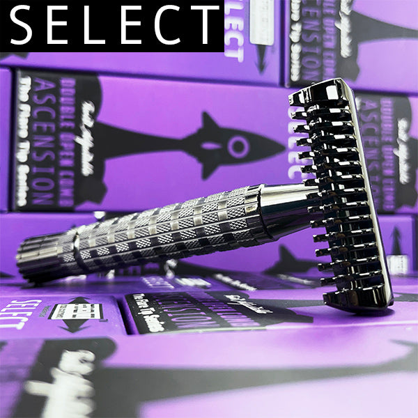 The Ascension SELECT Twist-Adjustable Double Open Comb Safety Razor | Flare Tip Series | 316L Stainless Steel Handle - Phoenix Artisan Accoutrements