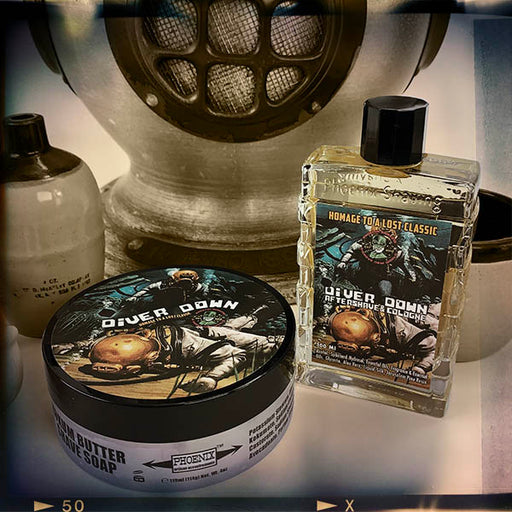 Diver Down Artisan Shave Soap & Aftershave Cologne Bundle Deal | Original Formula | Homage to the Original Seaforth | 4 Oz - Phoenix Artisan Accoutrements