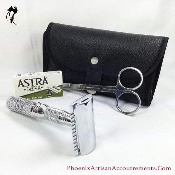 The Agent 4-piece Travel Razor - Executive Edition (Includes Case- Choice Of Open Comb or Straight Bar, Astra Blades and Trimming Scissors) - Phoenix Artisan Accoutrements - 1