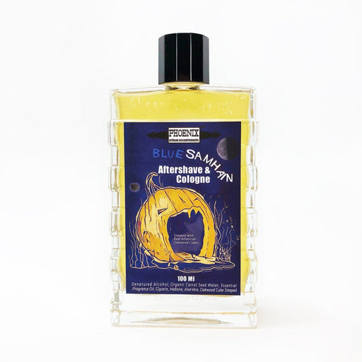 Blue Samhain Aftershave/Cologne - Sandalwood, Burnt Sugar, Oakwood, Bourbon, Pumpkin - Phoenix Artisan Accoutrements