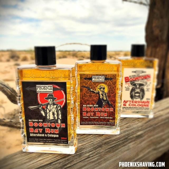 Boomtown Bay Rum Aftershave Cologne Barrel Aged Gun Smoke Leather Phoenix Shaving