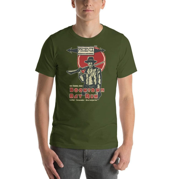 "Boomtown Bay Rum ""The Good"" Short-Sleeve Unisex T-Shirt - Phoenix Artisan Accoutrements"