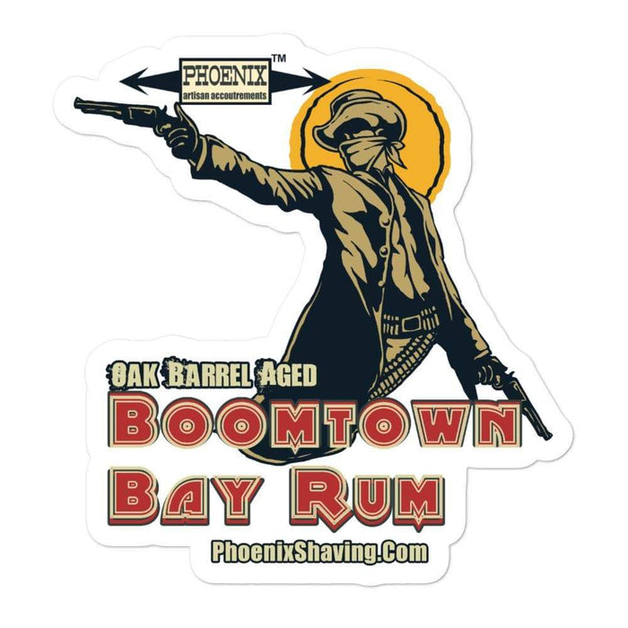 Boomtown Bay Rum Vinyl Stickers 3 | Available in 3 sizes! - Phoenix Artisan Accoutrements