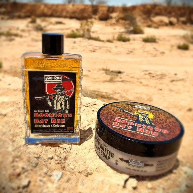 Boomtown Bay Rum Artisan Shave Soap & Aftershave Bundle Deal - Barrel Aged ~ Gun Smoke, Leather & West Indian Bay Rum - Phoenix Artisan Accoutrements