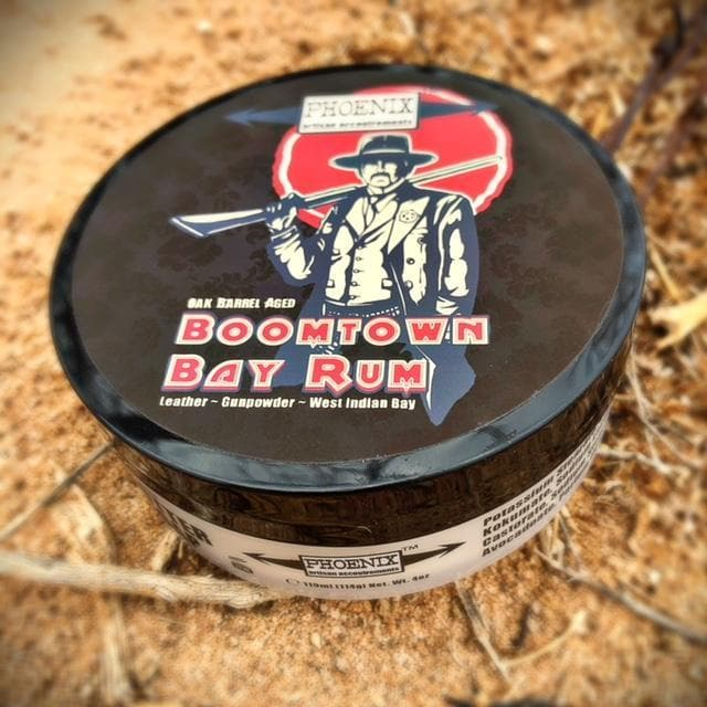Boomtown Bay Rum Artisan Shave Soap ~ Gun Smoke, Leather & West Indian Bay Rum - Phoenix Artisan Accoutrements