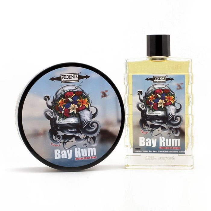 Clásico Bay Rum Artisan Shave Soap & Aftershave Bundle | Made w/ 10 Essential Oils & ZERO CLOVE! - Phoenix Artisan Accoutrements