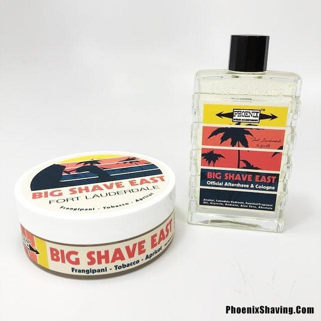 Official Big Shave East Artisan Shave Soap & Aftershave Cologne - Bundle -Frangipani, Tobacco & Apricot - Phoenix Artisan Accoutrements