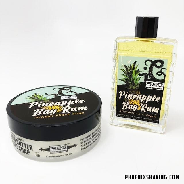 Pineapple Bay Rum Artisan Shave Soap & Aftershave Cologne - Bundle - Zero Clove! - Phoenix Artisan Accoutrements